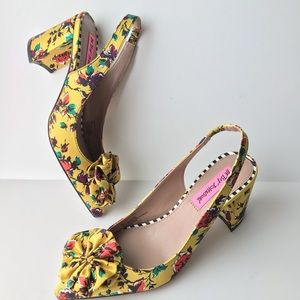 New Betsey Johnson Floral Slingback Pumps Yellow
